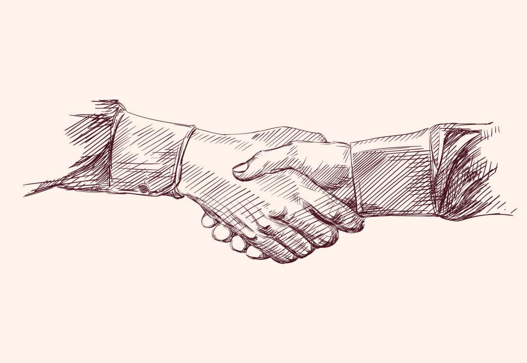 Handshake Hand drawn sketch