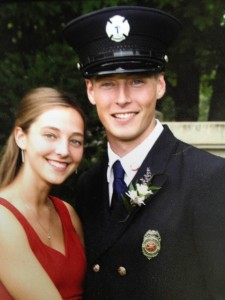 Matthew Carlson and his wife, Rebecca, attending a fellow firefighter's wedding in 2007.
