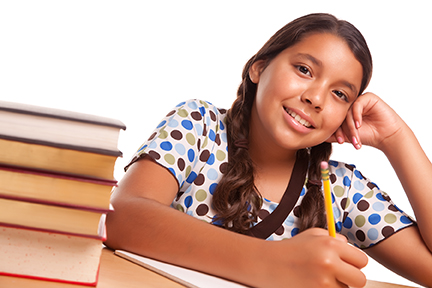 Smiling Hispanic Girl Studying