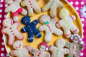 Gingerbread man cookie with frown