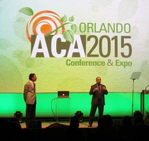 (Left to right) Jeffrey Kottler and Richard Balkin deliver the Saturday keynote at the 2015 ACA Conference & Expo.