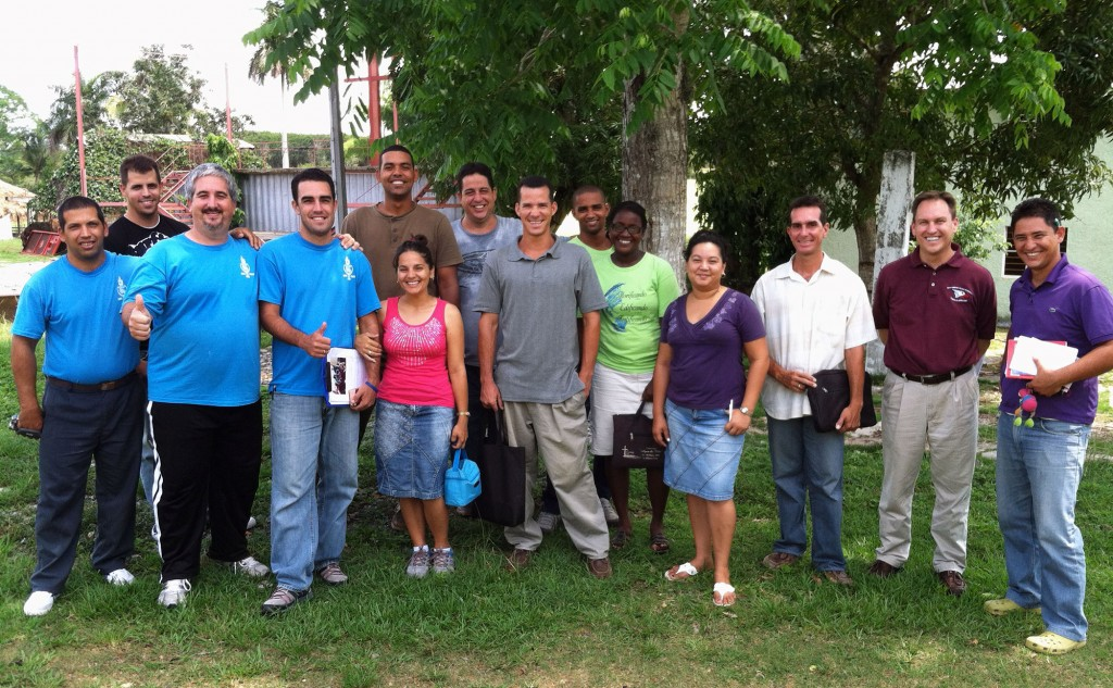 Moody (second from right) with students at the Cedars of Lebanon Seminary in Pinar del Rio.