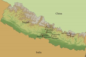 This map, courtesy of Empower Nepali Girls, shows the areas where the nonprofit operates.