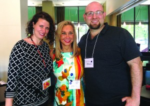Thelma Duffey is flanked by two of her former students, Ioana Boie and Chris Leeth, at ACC's 10th anniversary celebration. Boie is now an assistant professor at Marymount University in Virginia and Leeth is assistant director of counseling services at the University of the Incarnate Word in Texas.