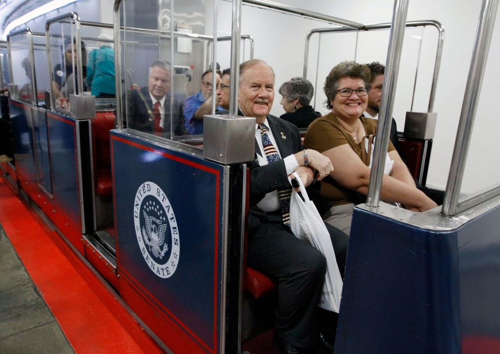 ACA member-leaders take the underground train that runs between the Senate and House buildings on Capitol Hill.