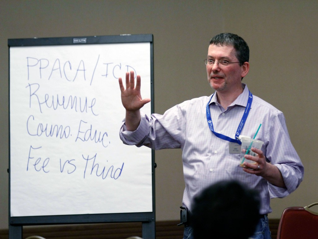 "Duggan leads a session titled ""The Business Side of Counseling"" at ACA's Institute of Leadership Training in July 2015."