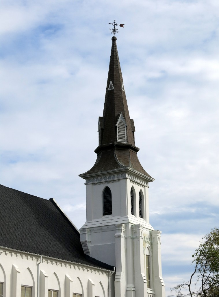 The steeple of Emanuel African Methodist Episcopal Church in Charleston, South Carolina. (Photo via Wikimedia Commons)