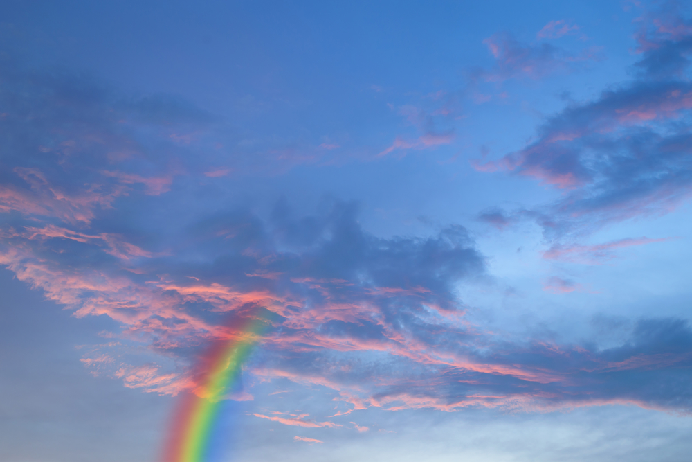 Red sky with rainbow