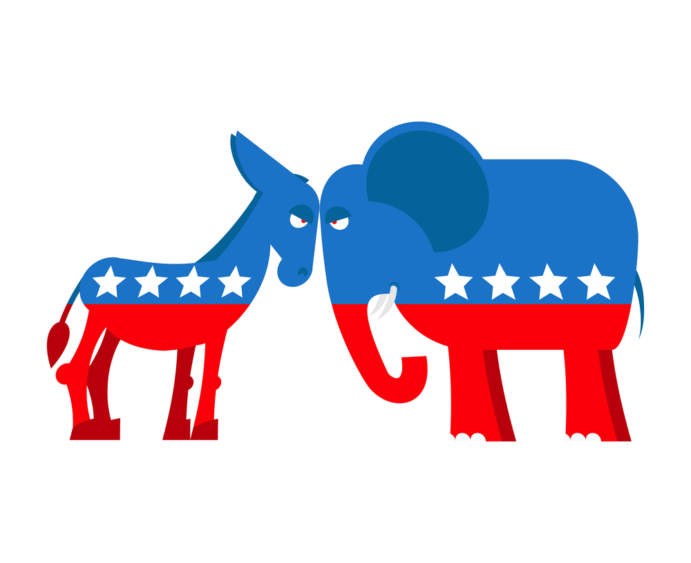 Donkey and elephant symbols of political parties in America. USA